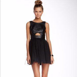 BCBGeneration Faux Leather Mini Dress black sz 2